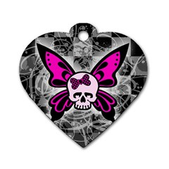 Skull Butterfly Dog Tag Heart (two Sides)