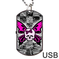 Skull Butterfly Dog Tag Usb Flash (one Side)