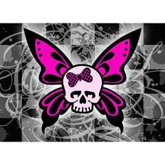 Skull Butterfly Birthday Cake 3D Greeting Card (7x5)