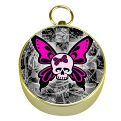 Skull Butterfly Gold Compasses