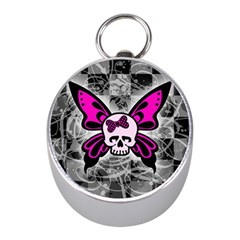 Skull Butterfly Mini Silver Compasses