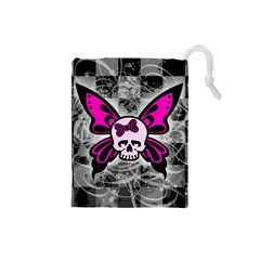 Skull Butterfly Drawstring Pouches (Small)