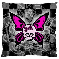 Skull Butterfly Large Flano Cushion Cases (One Side)