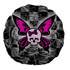 Skull Butterfly Large 18  Premium Flano Round Cushions