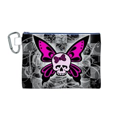Skull Butterfly Canvas Cosmetic Bag (M)