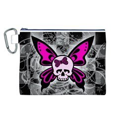 Skull Butterfly Canvas Cosmetic Bag (L)