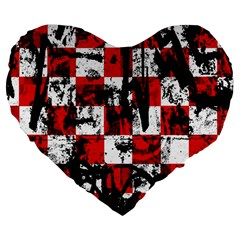 Emo Checker Graffiti Large 19  Premium Flano Heart Shape Cushions