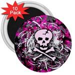 Pink Skull Splatter 3  Magnets (10 pack)  Front