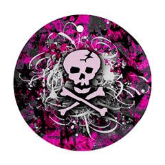 Pink Skull Splatter Round Ornament (two Sides)
