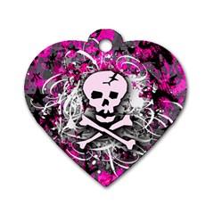 Pink Skull Splatter Dog Tag Heart (two Sides)