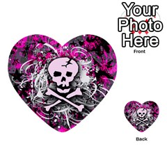 Pink Skull Splatter Multi-purpose Cards (Heart)