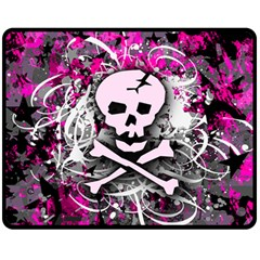 Pink Skull Splatter Fleece Blanket (medium)