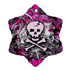 Pink Skull Splatter Snowflake Ornament (2-Side)