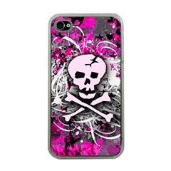 Pink Skull Splatter Apple Iphone 4 Case (clear)