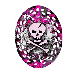 Pink Skull Splatter Ornament (Oval Filigree)