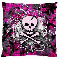 Pink Skull Splatter Large Cushion Cases (two Sides)