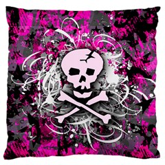 Pink Skull Splatter Large Flano Cushion Cases (One Side)