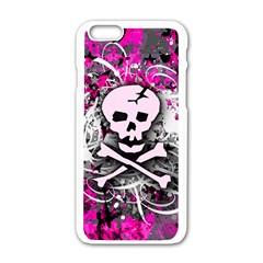 Pink Skull Splatter Apple Iphone 6 White Enamel Case