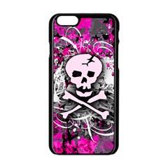 Pink Skull Splatter Apple iPhone 6 Black Enamel Case