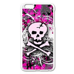 Pink Skull Splatter Apple iPhone 6 Plus Enamel White Case