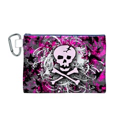 Pink Skull Splatter Canvas Cosmetic Bag (M)
