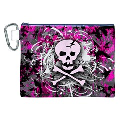 Pink Skull Splatter Canvas Cosmetic Bag (XXL)