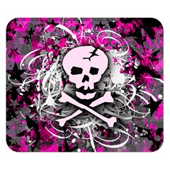 Pink Skull Splatter Double Sided Flano Blanket (small)
