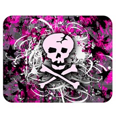 Pink Skull Splatter Double Sided Flano Blanket (medium)