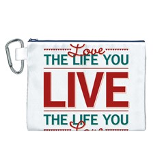 Love The Life You Live Canvas Cosmetic Bag (L)