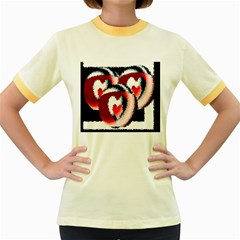 Heart Time 3 Women s Fitted Ringer T-Shirts