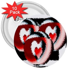 Heart Time 3 3  Buttons (10 Pack)