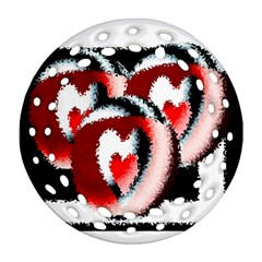 Heart Time 3 Round Filigree Ornament (2side)