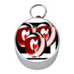 Heart Time 3 Mini Silver Compasses