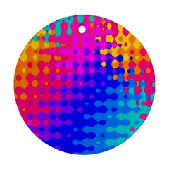 Totally Trippy Hippy Rainbow Round Ornament (two Sides)