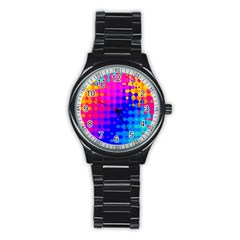 Totally Trippy Hippy Rainbow Stainless Steel Round Watches