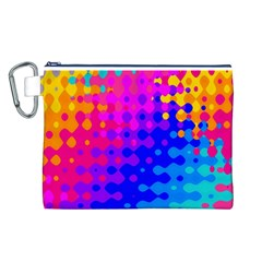 Totally Trippy Hippy Rainbow Canvas Cosmetic Bag (L)