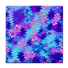 Blue And Purple Marble Waves Tile Coasters