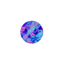 Blue and Purple Marble Waves 1  Mini Magnets