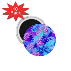 Blue And Purple Marble Waves 1 75  Magnets (10 Pack)