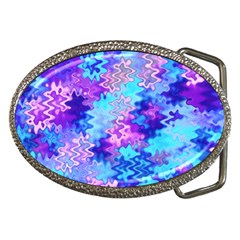Blue and Purple Marble Waves Belt Buckles
