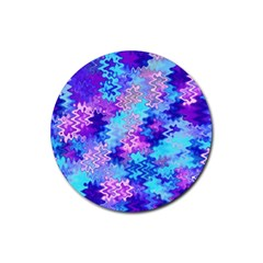 Blue And Purple Marble Waves Rubber Round Coaster (4 Pack)