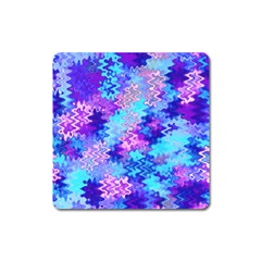 Blue and Purple Marble Waves Square Magnet