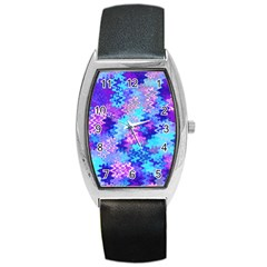 Blue And Purple Marble Waves Barrel Metal Watches