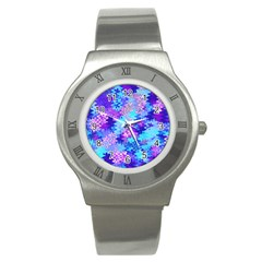 Blue And Purple Marble Waves Stainless Steel Watches