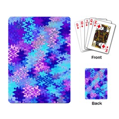 Blue And Purple Marble Waves Playing Card