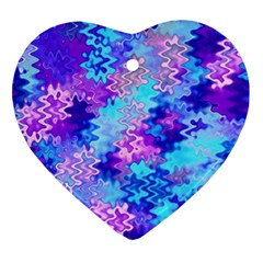 Blue and Purple Marble Waves Heart Ornament (2 Sides)