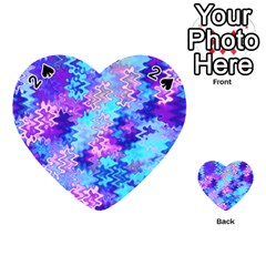 Blue and Purple Marble Waves Playing Cards 54 (Heart)