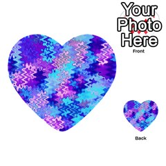 Blue and Purple Marble Waves Multi-purpose Cards (Heart)
