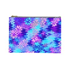 Blue and Purple Marble Waves Cosmetic Bag (Large)