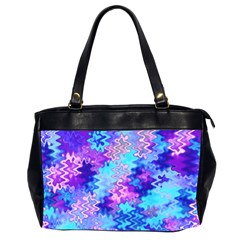 Blue and Purple Marble Waves Office Handbags (2 Sides)